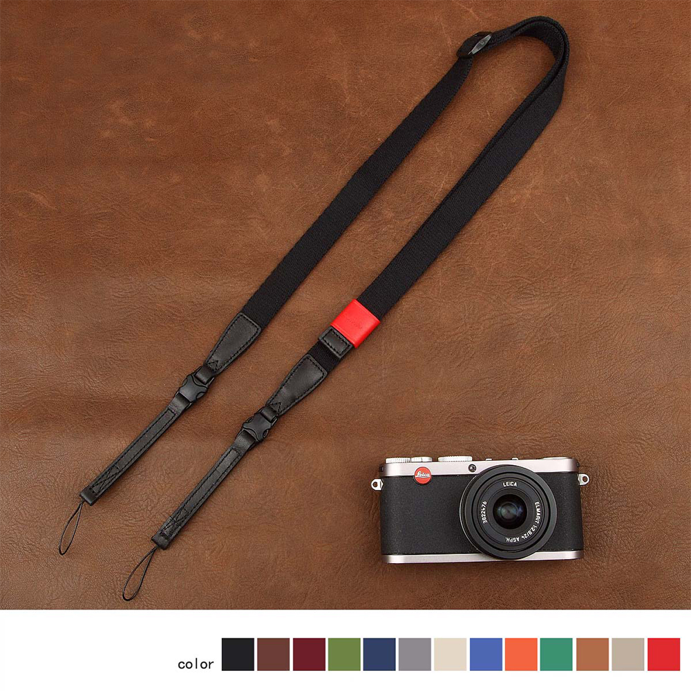Cam-in 1801-1815 Cotton Tape Cow Leather Universal Camera Strap Neck Shoulder Carrying Cloth General Adjustable Belt