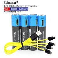 Новый продукт! 4 шт./лот etinesan AAA 1.5 В 600mwh литий-полимерный литий-ионная аккумуляторная батарея с USB зарядка линии