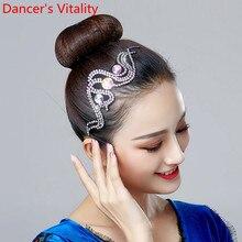 Latin Dance Headdress Stage Wear Competition Professional Dancer Adult Children Performance Rhinestone Accessories Decoration