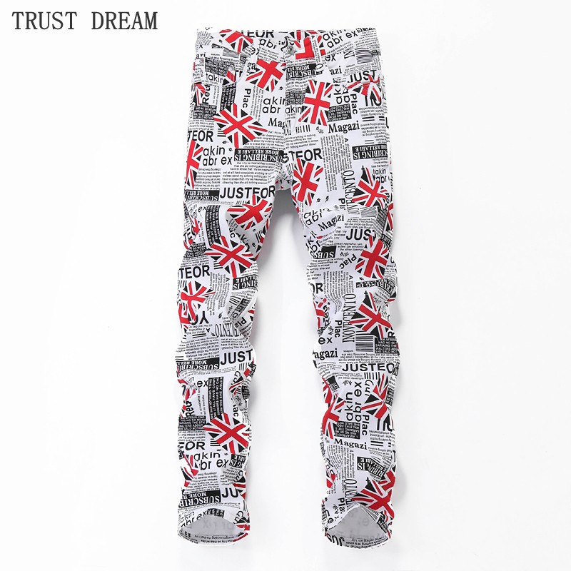 2018 New Euro Style Men's Slim White Print Pants UK Flag Floral Male Trousers Personal Fashion Man Quality Amazing Casual Pant