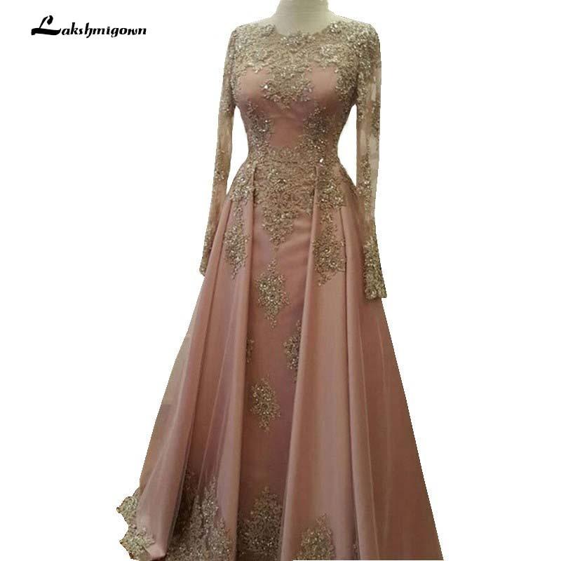 Saudi Arabia Evening Dresses 2018 Dubai Kaftan Lace Appliques Beaded ...