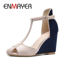 ENMAYER  Flock Gladiator Woman Shoes Casual Wedges for Women Zapatos De Mujer High Heel Sandals Size 34-39 LY1506