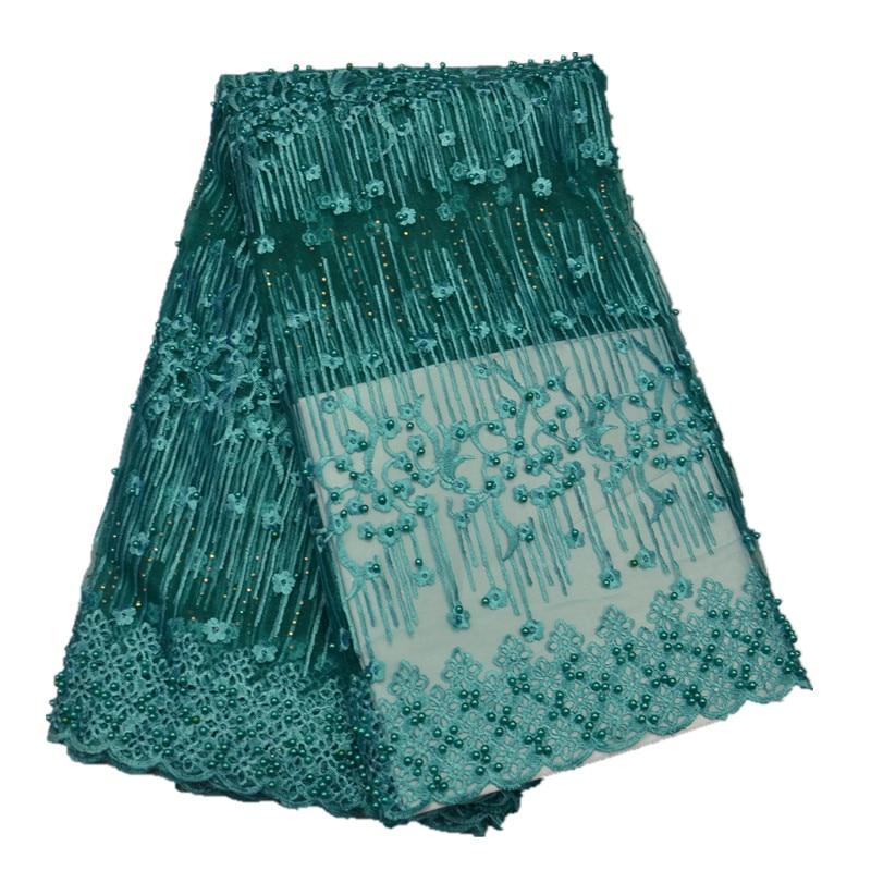 Aqua couleur africaine haute qualité Tulle français Net dentelle tissu avec perle et pierre pour la fête de la robe 5 mètres