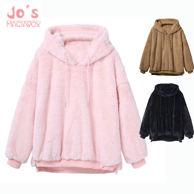 2019 Women Hoodies Sweatshirts Winter Warm Hooded Tops Loose Soft Cute Coat Harajuku Ladies Basic Kawaii Pullover Sweatshirts