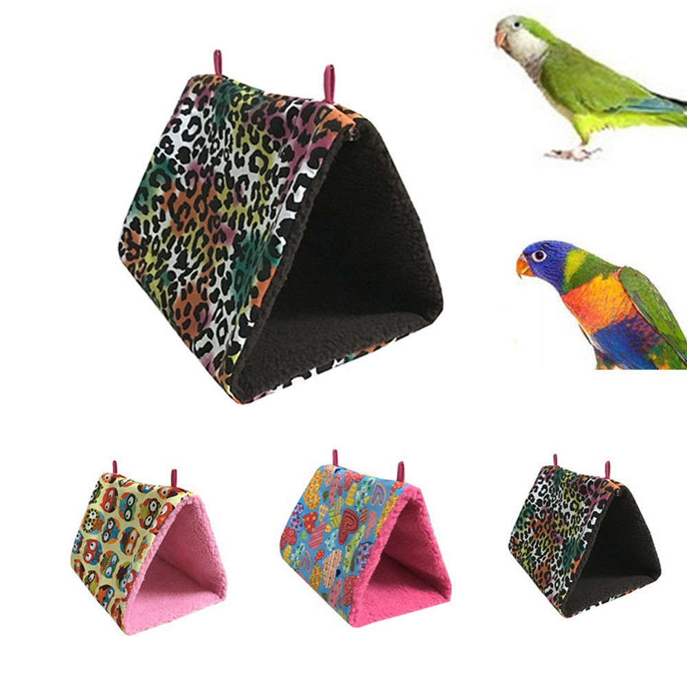 Pet Bird Beds For Parrot Hamster Plush Hammock Cage Snuggle Happy Hut Tent Bed Bunk Toy Hanging Cave BTOF