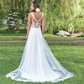 Cheap Vestidos De Novia with Lace Appliques Scoop Neck Tulle Gown Beach Wedding Dress 2016 Sexy Bridal Mariage Gown Plu Size