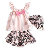 Summer Baby Girl Clothes Set Children T Shirt Tutu Pants Hat 3PCS Kids Infant Newborn Bebe