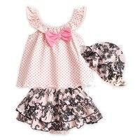 Summer Baby Girl Clothes Set Children T Shirt Tutu Pants Hat 3PCS Kids Infant Newborn Bebe