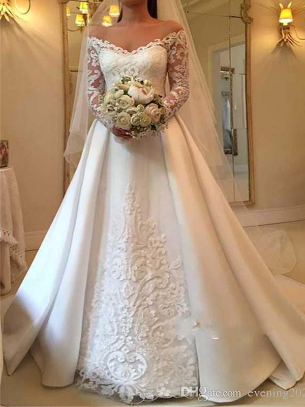wuzhiyi A Line Wedding Dresses Off Shoulder Long Sleeve satin Appliques Sexy Back Button Bridal Dresses