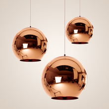 Copper Sliver Shade Mirror Chandelier Light E27 Bulb LED Pendant Lamp Modern Christmas Glass Ball Lighting dining art decor lamp