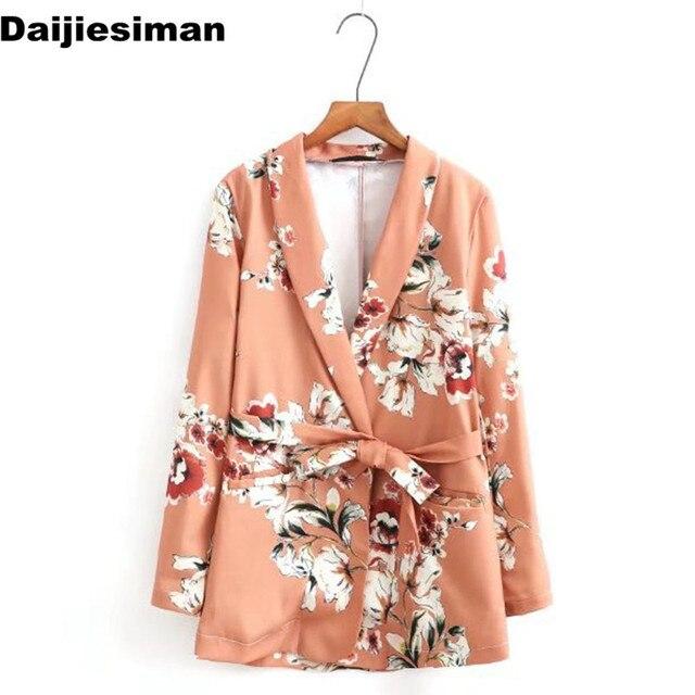 5aebbb48b9d Ropa de trabajo Blazers Kimono estampado flor Floral fashes traje chaqueta  delgada manga larga OL Vintage