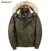 メンズ冬の毛皮フード厚いパッド入りメンズフード付きジャケット防風雪ウインドブレーカー暖かい冬コート男性オーバーコート