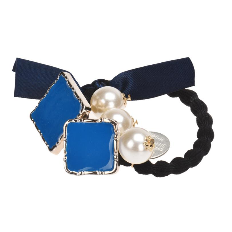 2017 Hot Children Baby girl Blue Bow Square Pearls Hair Band Rope Scrunchie Ponytail Holder sep20