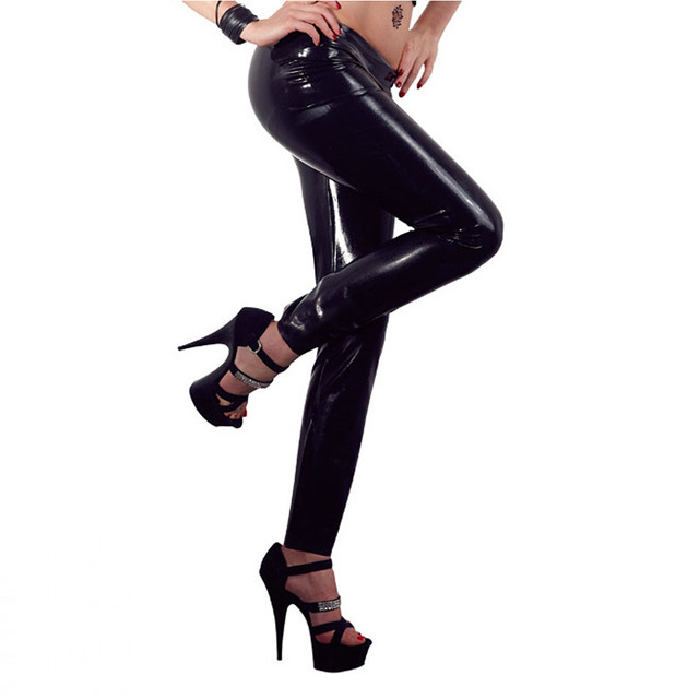 7f612228ec1ef New Stylish Gothic Shiny PVC Leggings Erotic Wet Look Faux Leather Pants PU  Vinyl Low Waist Leggins Legging Plus Size M-XL