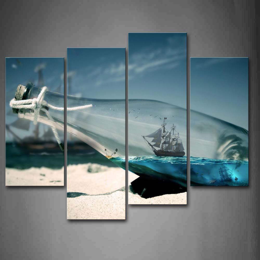 4 Panels Unframed Wall Art Pictures Boat Glass Bottle