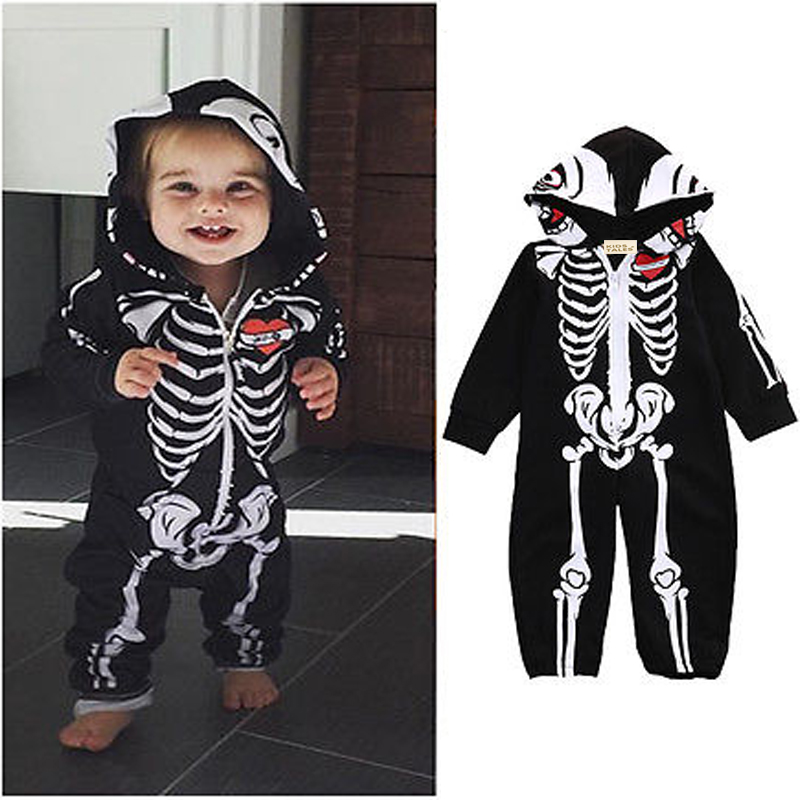 order 1 piece baby halloween costume skeleton glow romper long sleeve infant clothing kids jumpsuit overalls newborn baby clothes - Where To Buy Infant Halloween Costumes