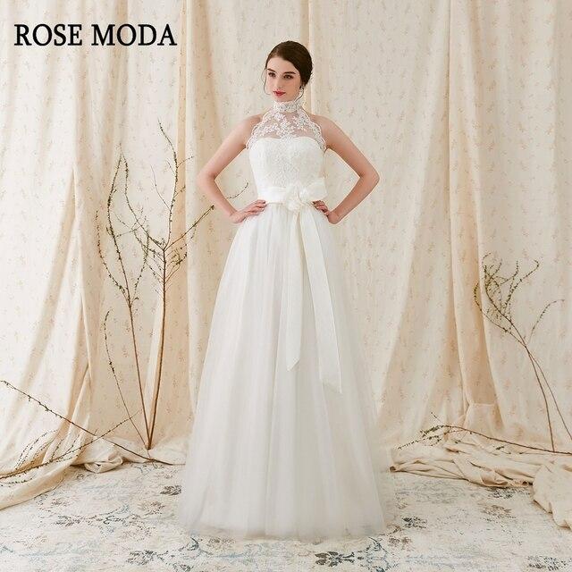 Rose Moda Einfache Tüll Hochzeitskleid 2018 Backless Brautkleider ...