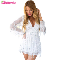 Sexy Sequin Women Jumpsuit Summer Deep V Neck Tassel Party Rompers Womens Jumpsuit Bling Bling Celebrity Jumpsuit Overalls