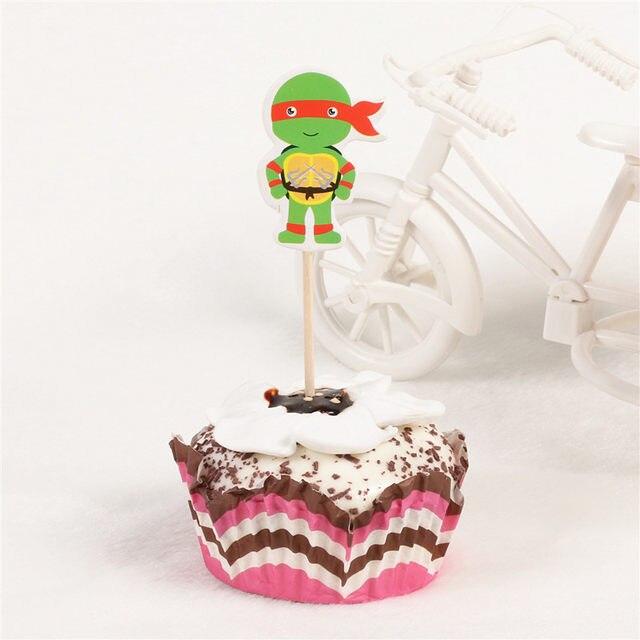 Online Shop 24pcs Cartoon Mutant Ninja Turtles Leonardo Cupcake