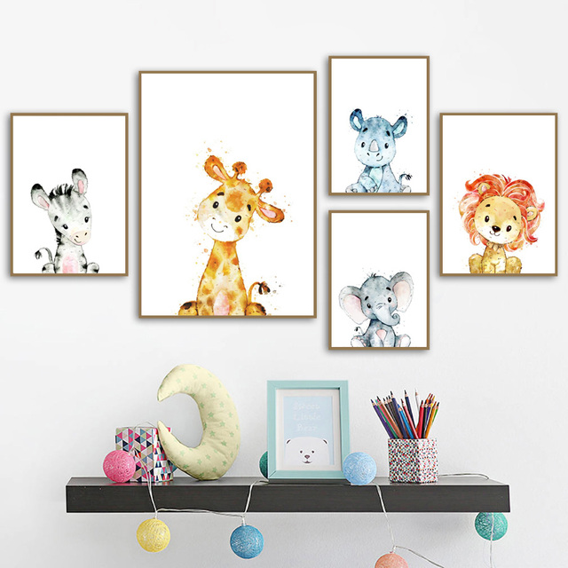 Lion Monkey Elephant Giraffe Nursery Nordic Posters And Prints Wall Art Canvas Painting Wall Pictures Baby Girl Boy Room Decor