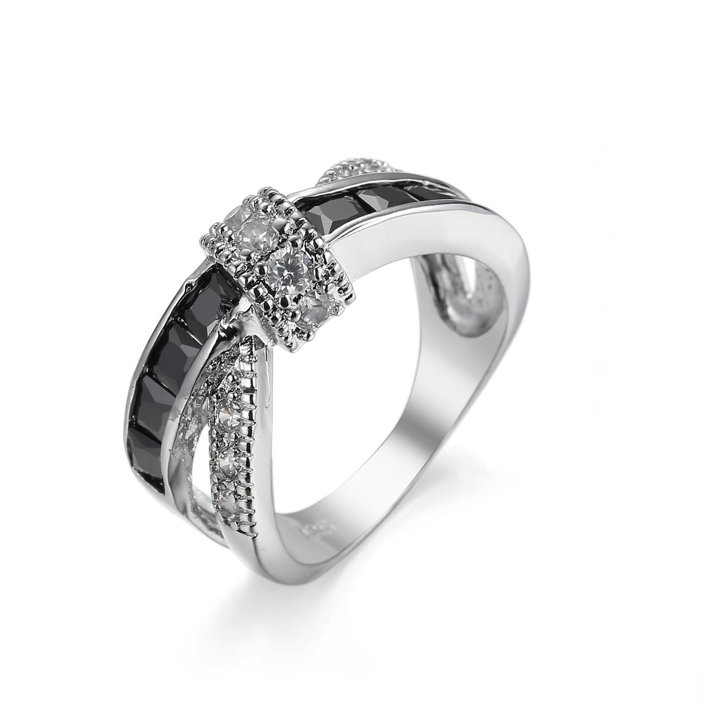 Charm Black Blue Ring AAA Zircon Crystal Fashion Silver Color Cross Winding Ring Women Wedding Finger Luxury Bijoux