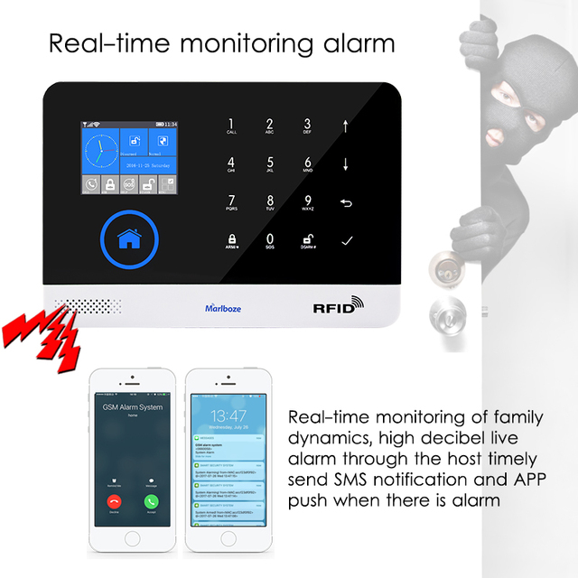 Wireless Home Security WIFI GSM GPRS | APP Remote Alarm system  1