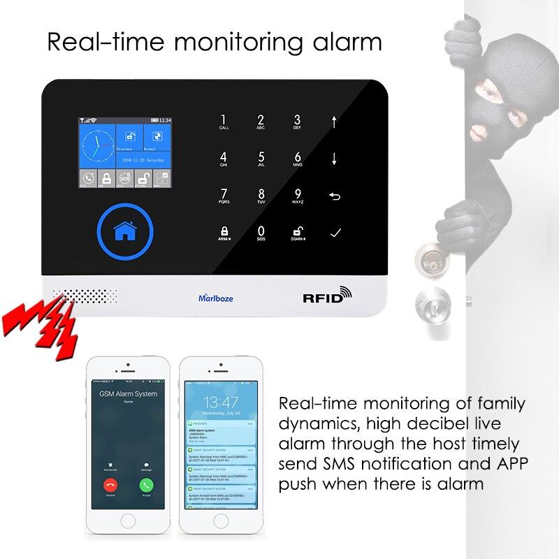 Marlboze EN RU ES PL DE Commutable Sans Fil de Sécurité À Domicile WIFI GSM GPRS système D'alarme APP Télécommande RFID carte bras Désarmer - 2