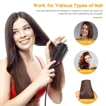 One Step Hair Dryer & Volumizer Negative Ion Straightening Brush Salon Hot Air Paddle Styling Reduce Frizz And Static Styling