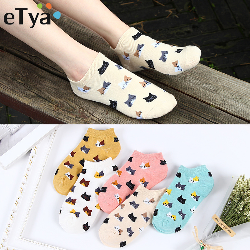 ETya Women New Cotton Socks Spring Summer Fashion Cartoon Pattern Ladies Simple Sock Slippers Cute Cat Short Socks Wholesale