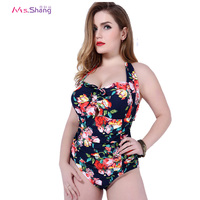 One Piece Swimsuit Women Low Cut Push Up Plus Size Monokini Padded Print Beach Bathing Suits