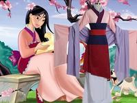 Frete Grátis Hot Mulan Mulan Traje Vestido Cheio Conjunto Roupa Traje Cosplay para o Dia Das Bruxas Partido Da Princesa Princesa de Boa Qualidade