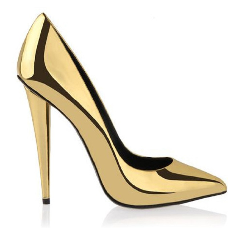 2017 spring and summer new fashion sexy gold patent leather tip ultra-fine with slender legs and legs ladies shoes 2014 spring and summer new elegant gold buckle leather shoes women shoes carrefour