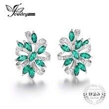 Jewelrypalace diseño único 2.1ct verde nano ruso esmeralda creado clip en los pendientes 925 joyas de plata esterlina