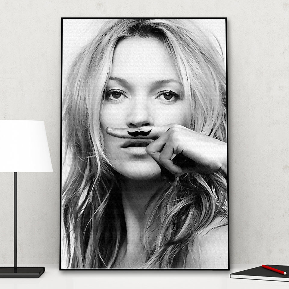 Modern Kate Ann Moss Posters And Prints Black And White Canvas Painting Nordic Home Decor Wall Pictures For Living Room No Frame