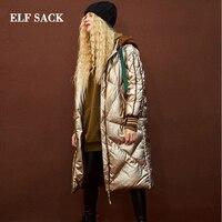 Эльф SACK Новинка зимы женские пуховые пальто 90% белая утка вниз, Повседневное серебро Для женщин вниз пальто Толстые Femme куртки верхняя одежд