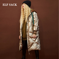 ELF SACK Coat Woman Winter Down Jacket 90% White Duck Down Jacket Solid Full Casual Silver Women Down Coats Thick Femme Jackets