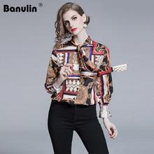 Banulin Women Retro Blouse 2019 Summer Spring Long Sleeve Floral Print Elegant Tops Ladies Office Fashion Runway Blouses Shirts