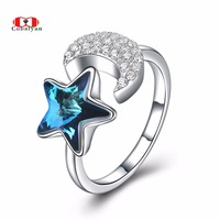 Allencoco Vintage 100 925 Sterling Personality Star And Moon Crystal AAA Zircon Open Finger Rings Women