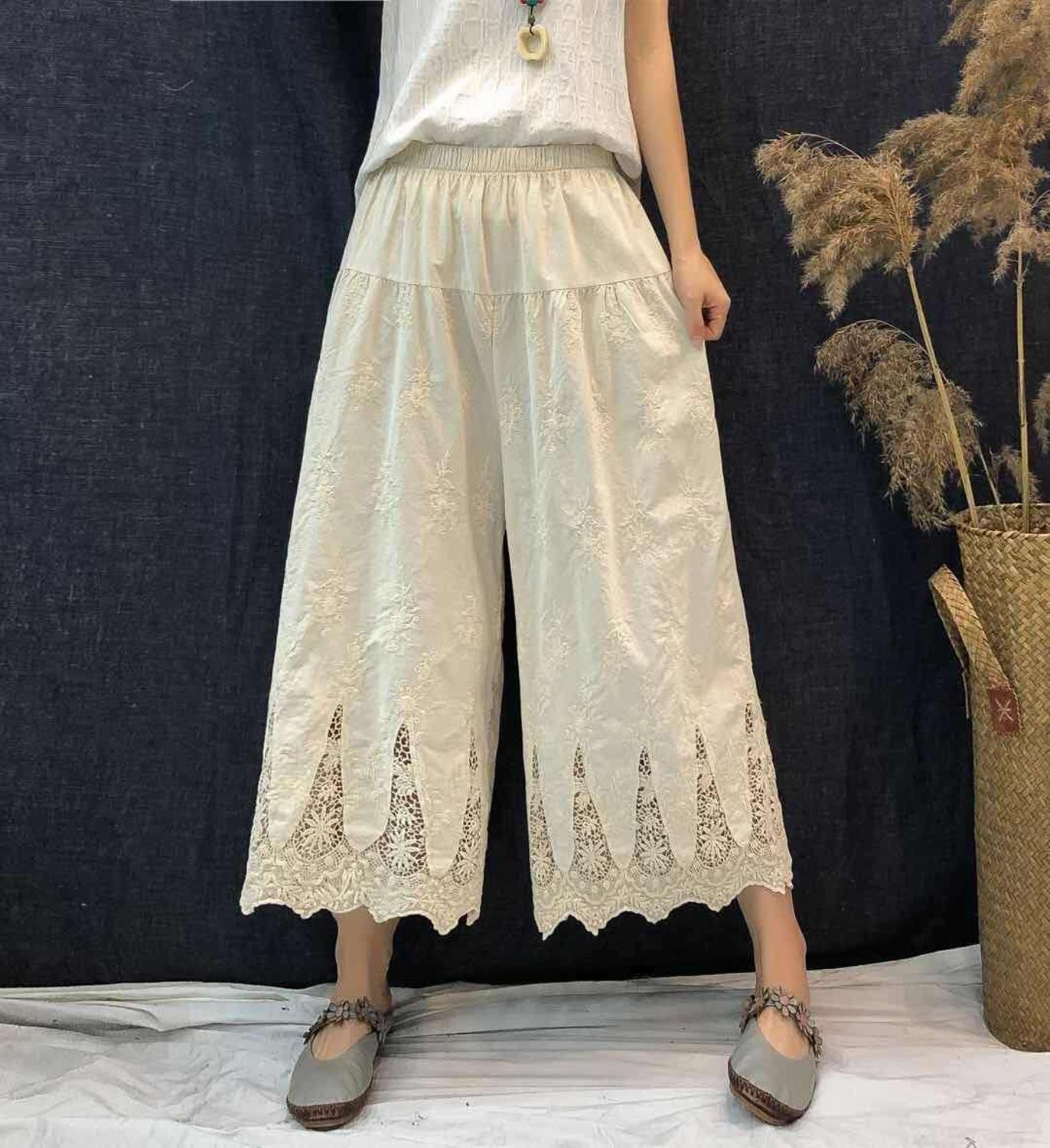 delicate gothic embroidery hollow out   Wide     leg     pants   female lolita sweet trousers