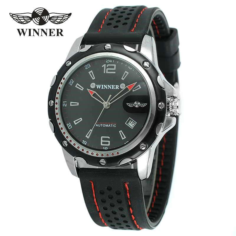 WINNER Sport Men Automatic Mechanical Watch Rubber Strap Date Display Arabic Number Minimum Design Fashion Style Wristwatch Gift 1с бухгалтерия 8 учебная версия издание 8