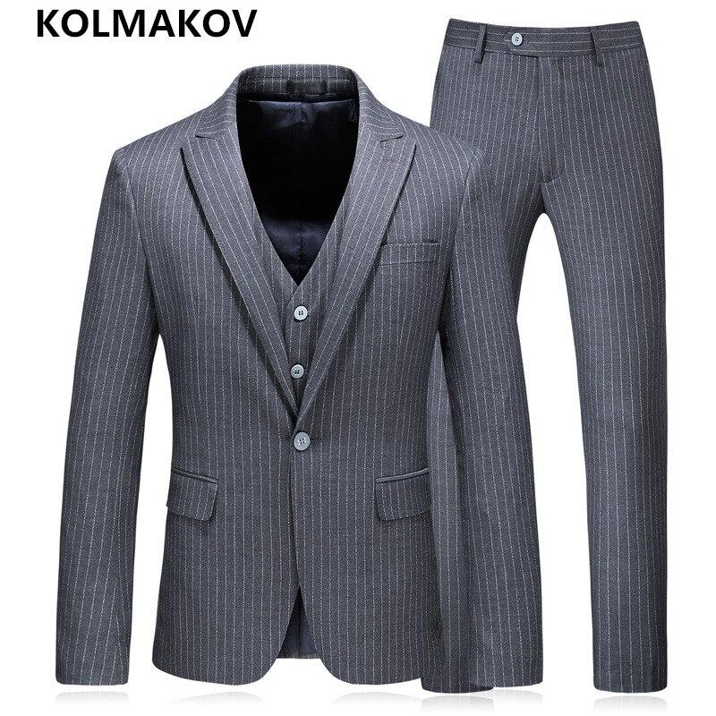 (Пиджак + брюки + жилет) 2019 новый комплект из 3 предметов Для мужчин костюмы с брюками Пиджаки Пром серый свадебные костюмы для мужчин Slim Fit плю...