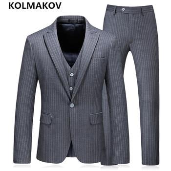 (Jacket+Pants+Vest)2019 New 3 Pieces Men's Suits With Pants Blazers Prom Grey Wedding Suits For Men Slim Fit Plus Size S-5XL