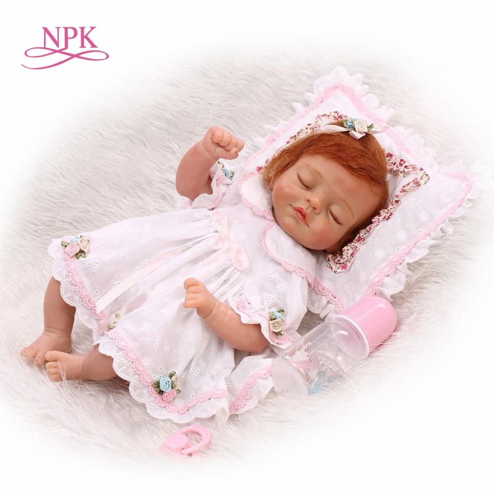 NPK 2018 New Silicone Reborn Baby Dolls In Pink About 18Inch Lovely Doll Reborn For Baby Gift Bonecas Bebe Reborn Brinquedos маркер флуоресцентный centropen 8722 1ф фиолетовый