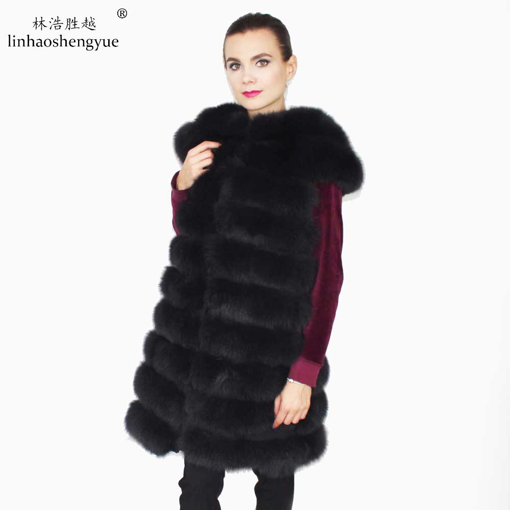 Linhaoshengyue hossza 90 cm nagy váll valódi róka szőrme - Női ruházat