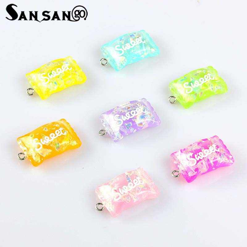 10PCS Resin sweet candy Food Pendant Art Supply Decoration Charm For Making Jewelry DIY Craft mix colors 17x27mm