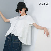 Women Summer O neck Short Sleeve Solid Color T Shirt Female Streetwear Spliced Loose Casual Tshirt Tops Black WhiteTee Shirt