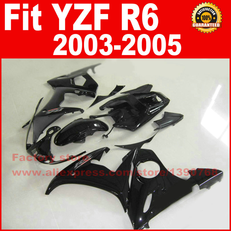 Road/race motorcycle fairings kit for YAMAHA YZFR6 2003 2004 2005 YZF R6 03 04 05 YZFR 600 full black fairing set bodywork part motorcycle part front rear brake disc rotor for yamaha yzf r6 2003 2004 2005 yzfr6 03 04 05 black color
