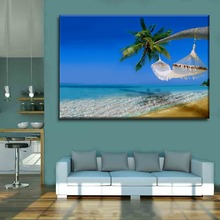 Home Decorative Wall Nature Landscape Tropical Beach Coconut Trees Picture 1 Panel Artwork Top-Rated Canvas Print Type Painting