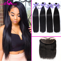Ali Coco Brazilian Straight Hair Bundles with Lace Frontal Human Hair Bundles With Ear to Ear Closure 13X4 Lace Frontal NonRemy