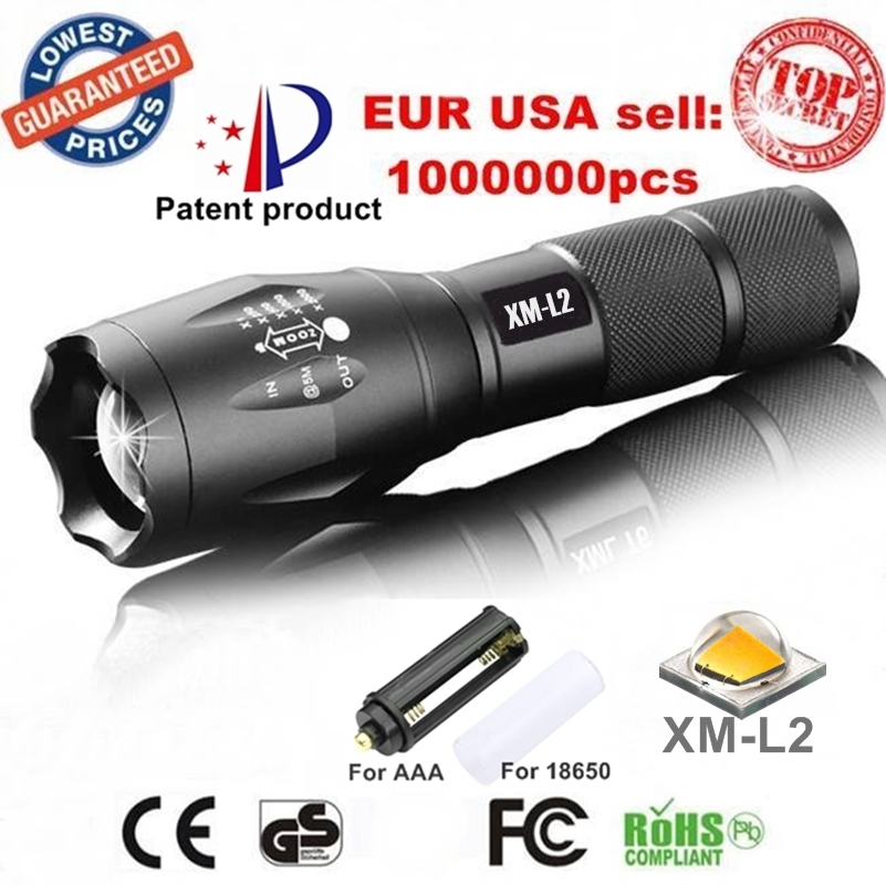 100 AUTHENTIC E17 CREE XM L2 3800Lumens Aluminum cree led Torch Zoomable cree LED Flashlight Torch
